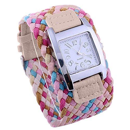 Bunte suessige Uhr Dame mit geflochtenem Band Geschenk Khaki