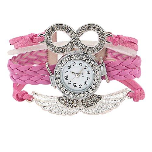 Damen Charme Strass Design Kunstleder Engelsfluegel Armreif Armbanduhr Rosa