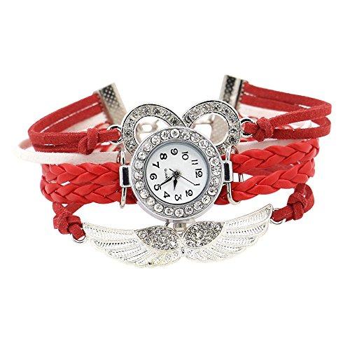 Damen Charme Strass Design Kunstleder Engelsfluegel Armreif Armbanduhr Rot