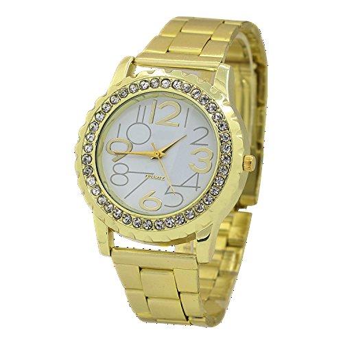 Damen und Herren Crystal Kristall Edelstahl Armband Analog Quarz Armbanduhr Gold