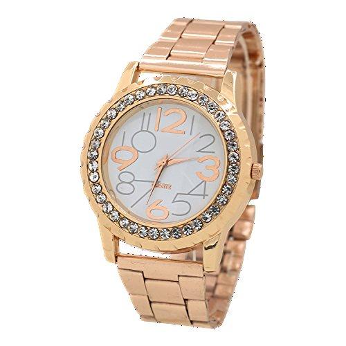 Damen und Herren Crystal Kristall Edelstahl Armband Analog Rosa Gold