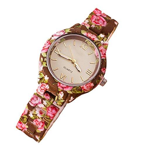 Damen Roman Blumenuhr Analog Quarz Kleid Armbanduhr Kaffee