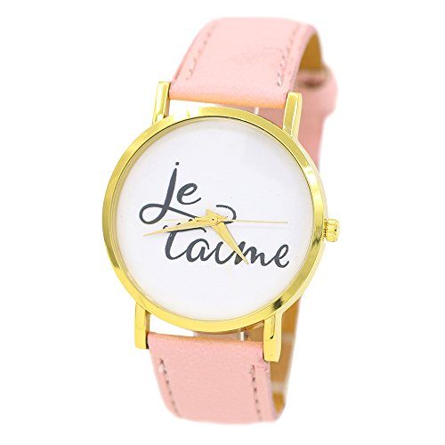 Damen und Herren Je Taime Paar Liebe Kunstleder Quarz Analoge Armbanduhr Rosa