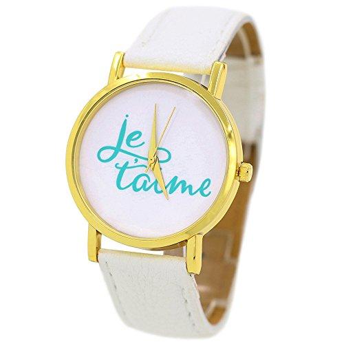 Damen und Herren Liebe Je Taime Kunstlederband Quarz Analoge Armbanduhr Weiss