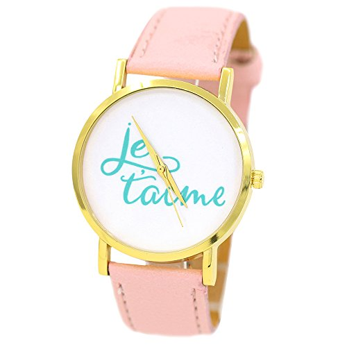Damen und Herren Liebe Je Taime Kunstlederband Quarz Analoge Armbanduhr Rosa