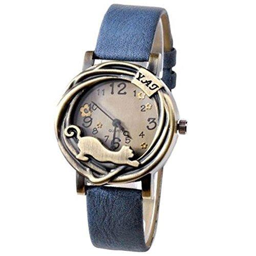 Damen Katze Blumen Quartz Analog Uhr Armbanduhr Bronze Gehaeuse Blau