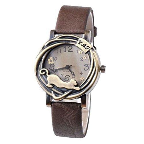 Damen Katze Blumen Quartz Analog Uhr Armbanduhr Bronze Gehaeuse Kaffeebraun