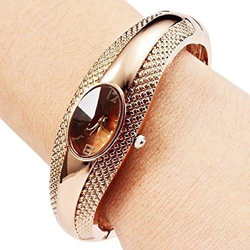 Damen Maedchen Uhr goldige Armkette Armbanduhr