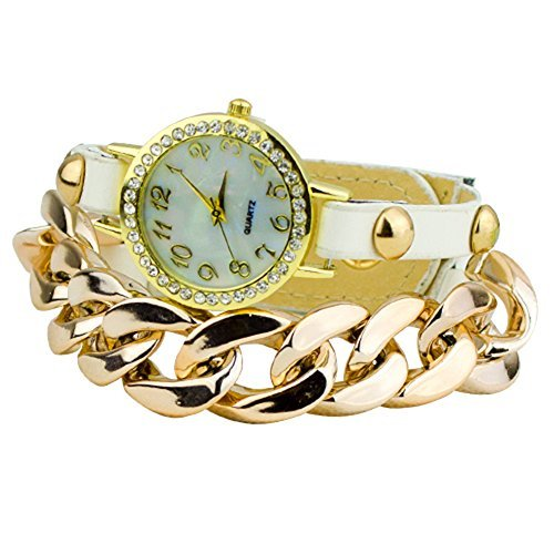 Damen Punk Stil vergoldet Leder Band Armbanduhr Uhr Weiss