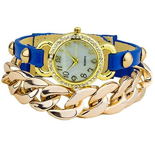 Damen Punk Stil vergoldet Leder Band Armbanduhr Uhr Blau