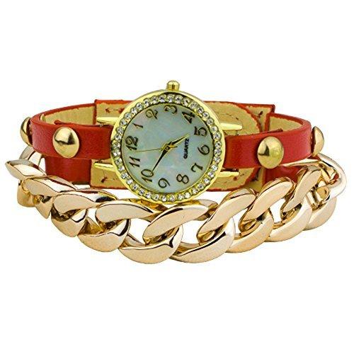 Damen Punk Stil vergoldet Leder Band Armbanduhr Uhr Rot
