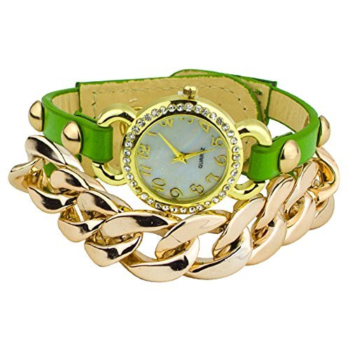 Damen Punk Stil vergoldet Leder Band Armbanduhr Uhr Gruen
