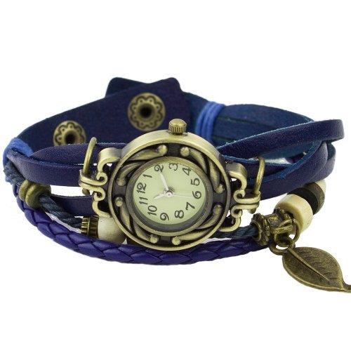 Damen Retro Baum Blatt Leder Armkette Armband Armbanduhr Uhren Uhr Watches Blau
