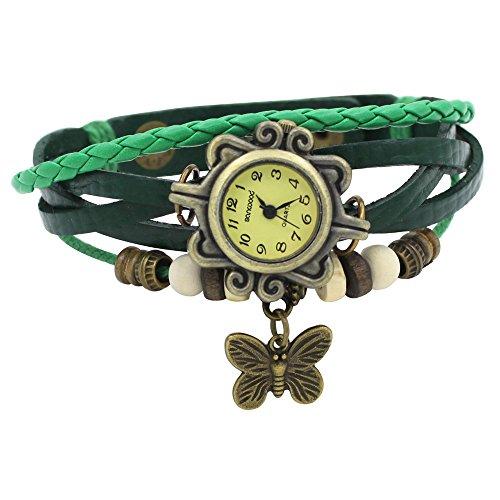 Damen Retro Leder Armbanduhr Schmetterling Quartz Strick Uhr Armreif Armband Gruen
