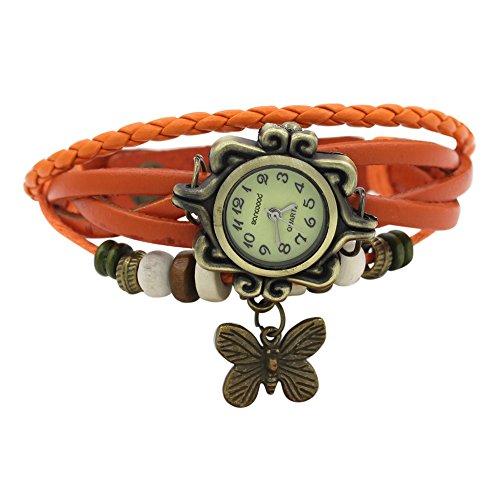 Damen Retro Leder Armbanduhr Schmetterling Quartz Strick Uhr Armreif Armband Orange