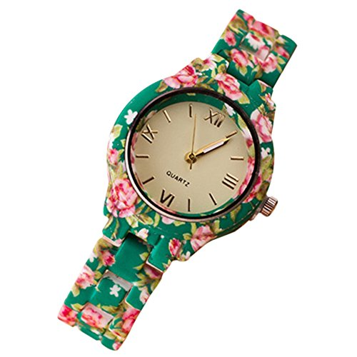 Damen Roman Blumenuhr Analog Quarz Kleid Armbanduhr Gruen