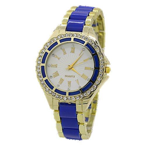 Damen Quarz Uhr Roman Strass Gold Legierungsarmband Analog Armbanduhr Blau