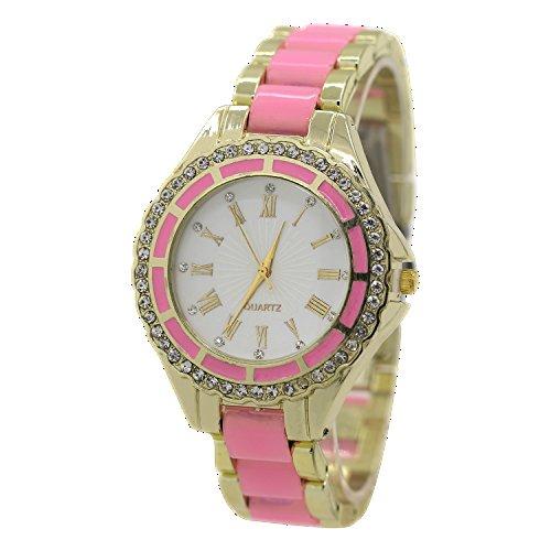 Damen Quarz Uhr Roman Strass Gold Legierungsarmband Analog Armbanduhr Rosa