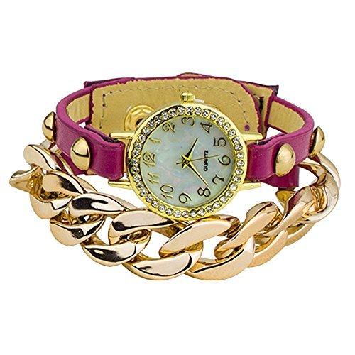 Damen Punk Stil vergoldet Leder Band Armbanduhr Uhr Purpur