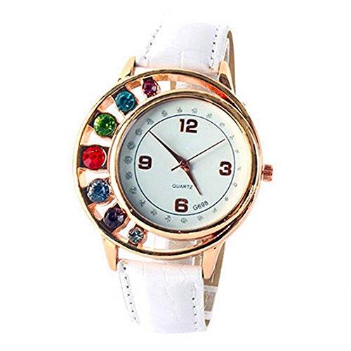 Damenmode Luxus Bunt Strassstein Uhr Kunstleder Band Quarz Kleid Uhr Armbanduhr Weiss