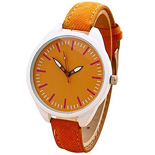 Jean Kunstleder Stoff Analog Quarz Kleid Armbanduhr Orange