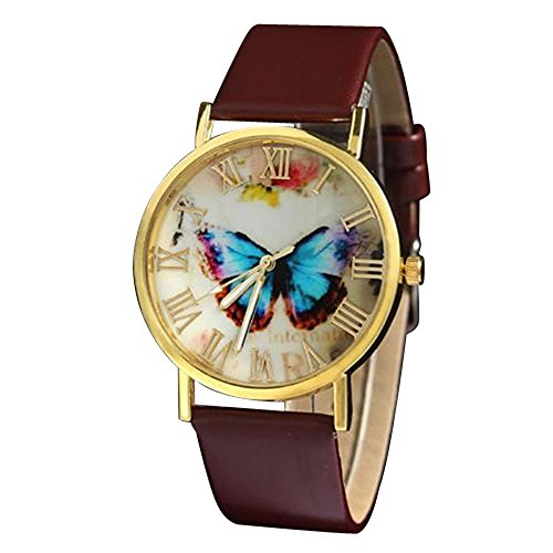 Retro mit Schmetterling Zifferblatt rundem Gehaeuse und Kunstlederuhr Quarz Analog Kleid Armbanduhr kreativ Braun