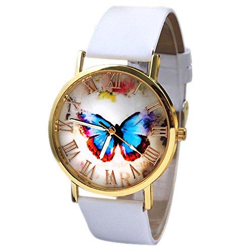 Retro Damenuhr mit Schmetterling Zifferblatt rundem Gehaeuse und Kunstlederuhr Quarz Analog Kleid Armbanduhr kreativ Weiss