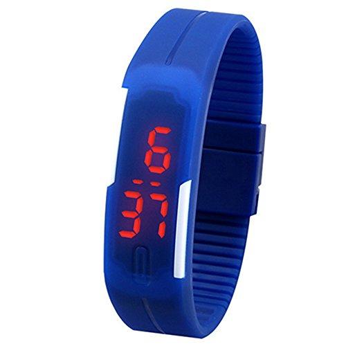 Unisex Rot LED Digital Touch Screen Bildschirm Uhr Silikon Sport Armband Uhr fuer Maenner und Frauen Dunkelblau