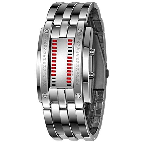 LED Digitaluhr Sportuhr Datumsanzeige Armbanduhr Unisex Uhr Rot LED und Silber Band 1