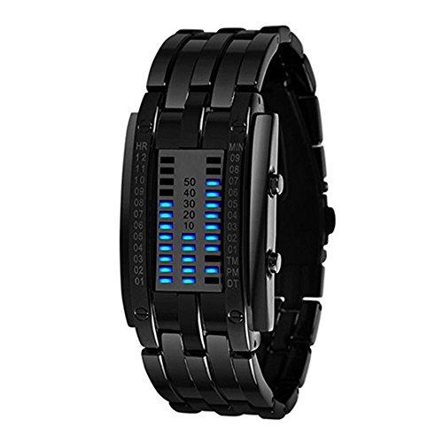 LED Digitaluhr Damen Uhr Sportuhr Datumsanzeige Armbanduhr Unisex Uhr Blau LED und Schwarz Band