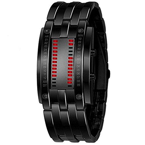 LED Digitaluhr Sportuhr Datumsanzeige Armbanduhr Unisex Uhr Rot LED und Schwarz Band