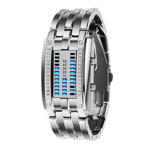LED Digitaluhr Sportuhr Datumsanzeige Armbanduhr Unisex Uhr Blau LED und Silber Band