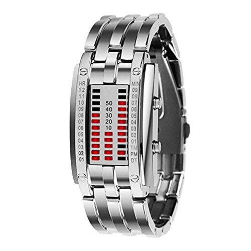 LED Digitaluhr Damen Uhr Sportuhr Datumsanzeige Armbanduhr Unisex Uhr Rot LED und Silber Band