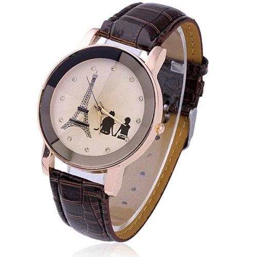 Eiffelturm Liebespaar Damen Herren Analog Uhr Quartz Armbanduhr Braun