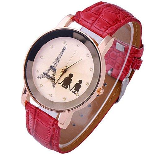 Eiffelturm Liebespaar Damen Herren Analog Uhr Quartz Armbanduhr Rot