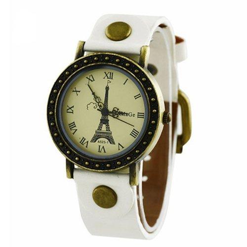 Eiffelturm Zifferblatt Dame Uhr Stilvolle Armbanduhr Weiss
