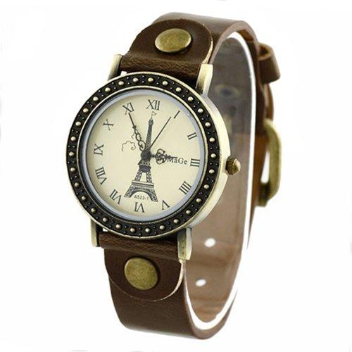 Eiffelturm Zifferblatt Dame Uhr Stilvolle Armbanduhr Braun
