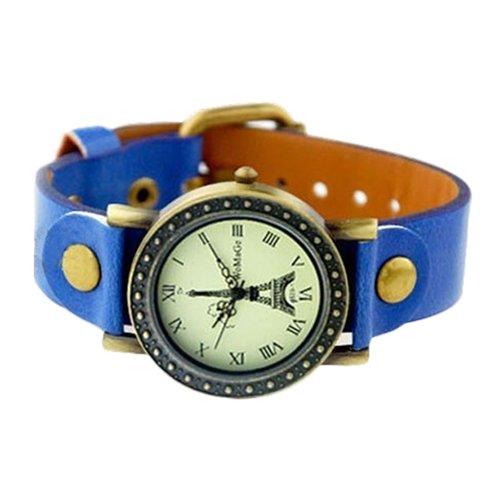 Eiffelturm Zifferblatt Dame Uhr Stilvolle Armbanduhr Damenuhr Dunkelblau