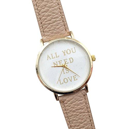Einfach Unisex Uhr mit ALL YOU NEED IS LOVE fuer Maenner und Frauen Mode Kunstleder Zifferblatt Uhr Quarz Analog Armbanduhr Cremefarbig
