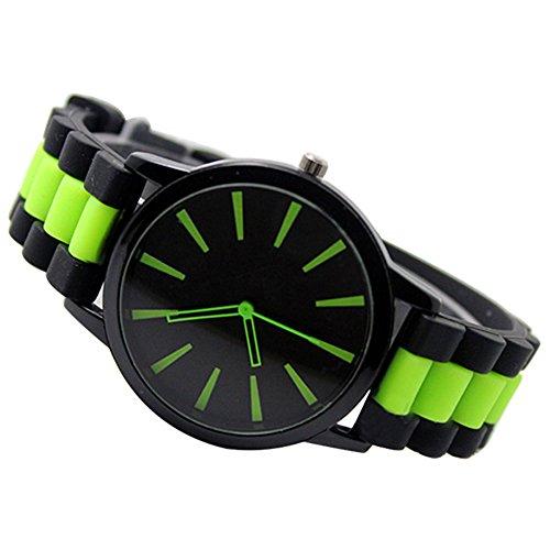 Einfach Unisex Damen Herren Silikon Armband Jellyfarben Gel Quarz Analog Sportuhr Armbanduhr Gruen