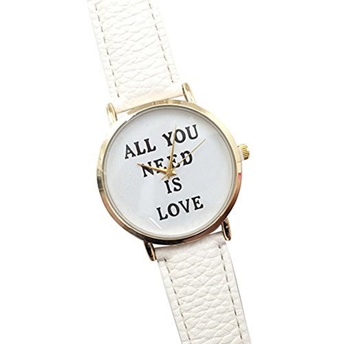 Einfach Unisex Uhr mit ALL YOU NEED IS LOVE fuer Maenner und Frauen Mode Kunstleder Zifferblatt Uhr Quarz Analog Armbanduhr Weiss