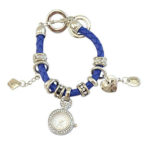 Elegant Damen Strass Herz Kunstleder Armband geflochtenen Seil Armbanduhr Blau
