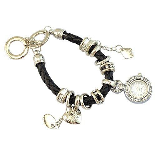 Elegant Damen Strass Herz Kunstleder Armband geflochtenen Seil Armbanduhr Schwarz