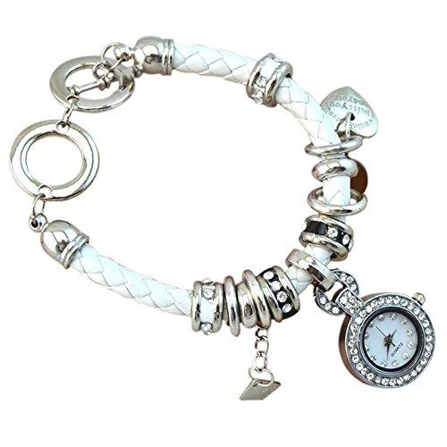 Elegant Damen Strass Herz Kunstleder Armband geflochtenen Seil Armbanduhr Weiss