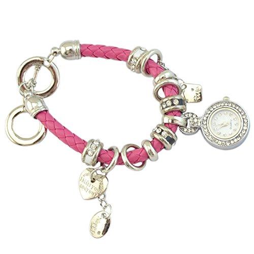 Elegant Damen Strass Herz Kunstleder Armband geflochtenen Seil Armbanduhr Rosa