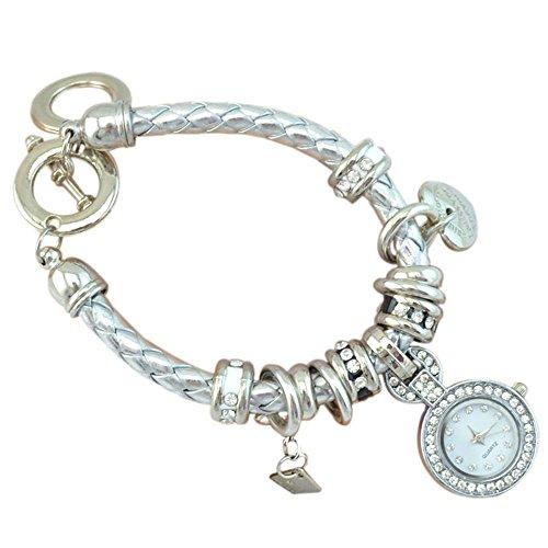 Elegant Damen Strass Herz Kunstleder Armband geflochtenen Seil Armbanduhr Silber