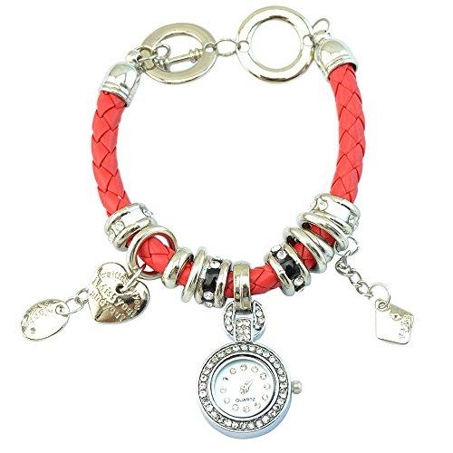 Elegant Damen Strass Herz Kunstleder Armband geflochtenen Seil Armbanduhr Rot