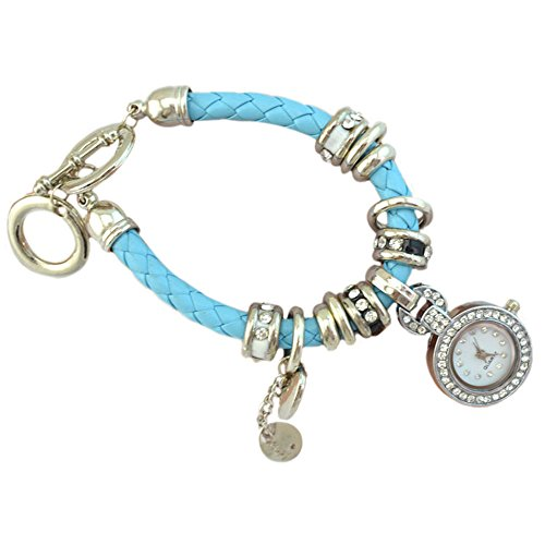 Elegant Damen Strass Herz Kunstleder Armband geflochtenen Seil Armbanduhr Hellblau