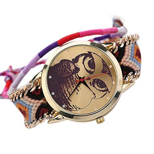 Damen Nett Eulenmuster Zifferblatt Handgefertigt geflochtenen Seil Armband Analog Quarz Armreif Armbanduhr Mode 2