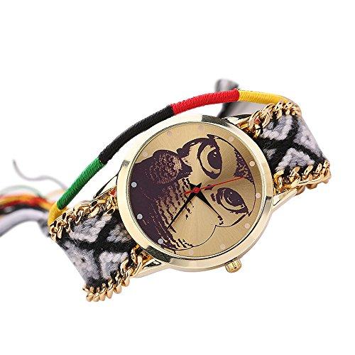 Damen Nett Eulenmuster Zifferblatt Handgefertigt geflochtenen Seil Armband Analog Quarz Armreif Armbanduhr Mode 4